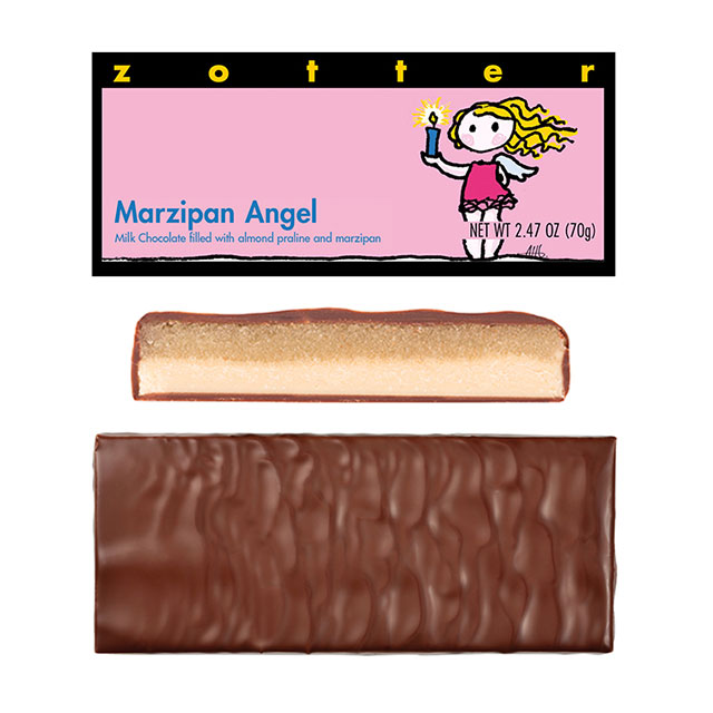 Zotter Marzipan Angel Hand-Scooped Chocolate Bar