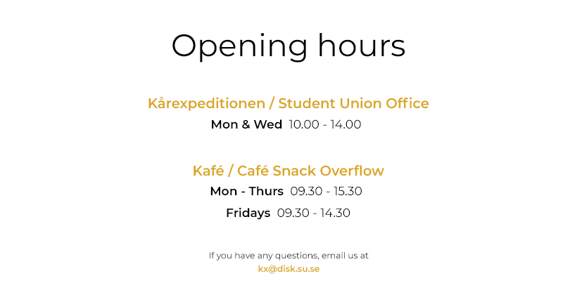 Opening hours Autumn -21