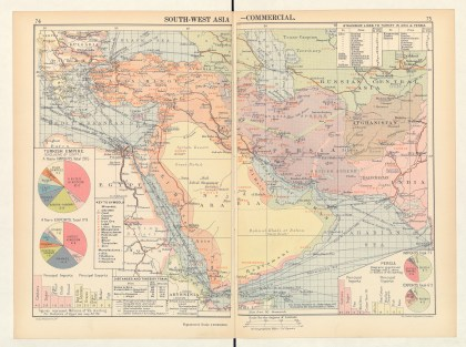 G. Philip, South-West Asia—Commercial, in Philip's Chamber of Commerce Atlas (London: G. Philip, 1912), 74–75. Size of the original: approx. 26 × 52 cm. Photograph courtesy of the BNF (Cartes et Plans GE FF- 12292).