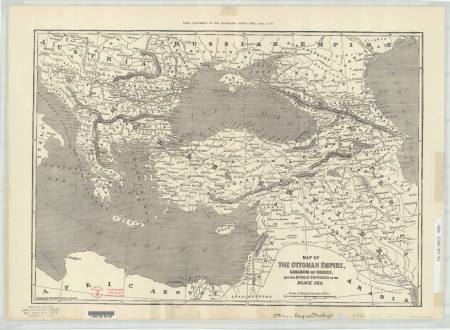 John Dower, Map of the Ottoman Empire, Kingdom of Greece and the Russian Provinces of the Black Sea, ca. 1:5,900,000, in The Extra Supplement to the Illustrated London News, August 12, 1854. Reprinted in The Extra Supplement to the Illustrated London News, April 21, 1877. Size of the original: 36 × 52 cm. Copyright 2013, Ball State University. All rights reserved (G7430 1877.W5).