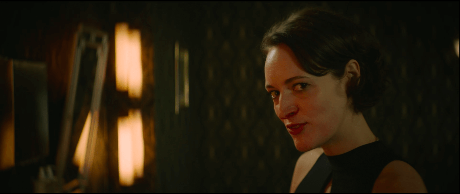 Fleabag close up of a woman with a bloody nose in a fancy bathroom