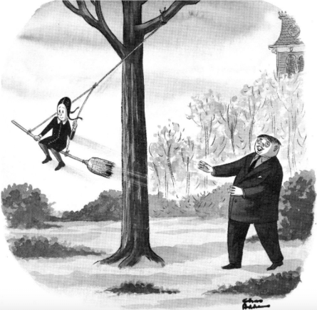 comic of Gomez Addams pushing Wednesday on a broom swing. Wednesday wears a Peter Pan collar