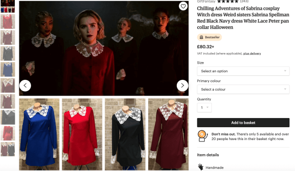 Screenshot of mini-dresses with lace Peter Pan collars sold on Etsy