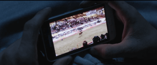 Dark close up of someone holding a phone that shows video of a rodeo