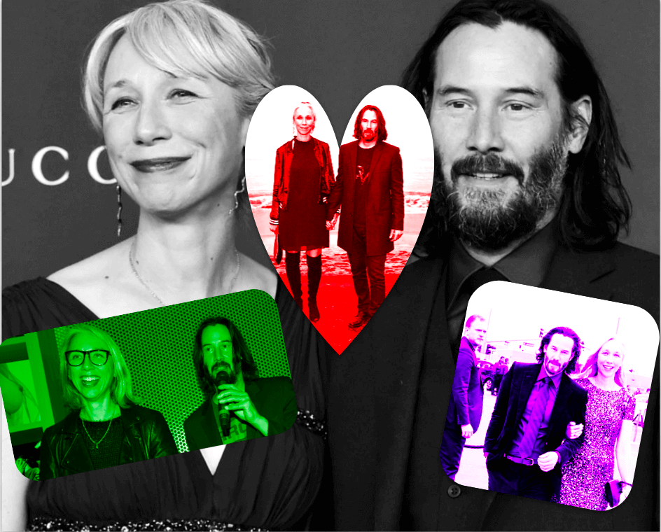 collage of Alexandra Grant and Keanu Reeves