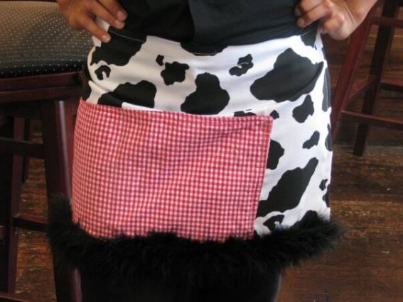 Missy Caudill Sentropia Designs upcycled apron with cow print