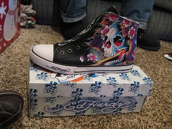 A Converse High Top with Ed Hardy tattoo design