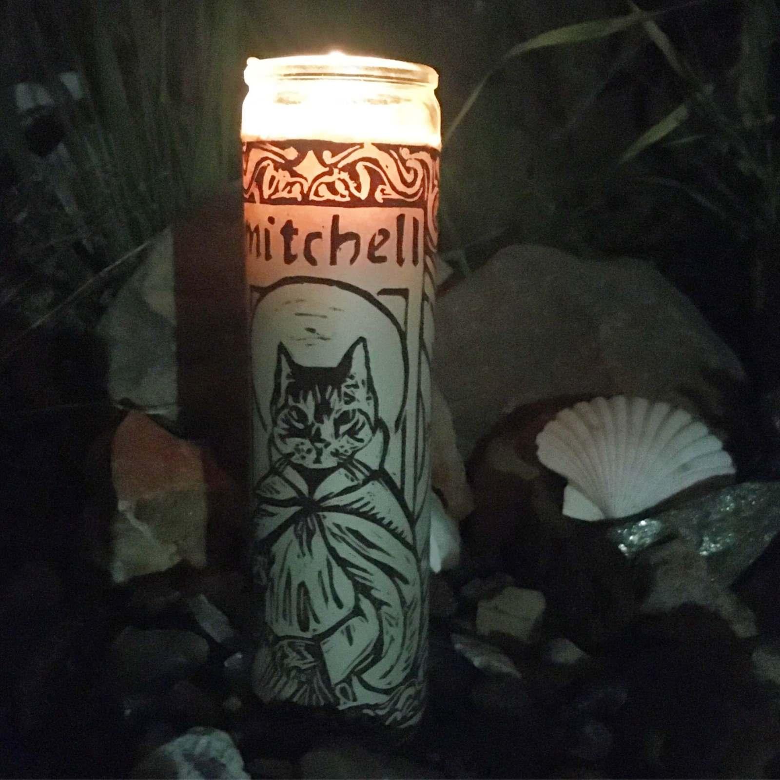 cat votive candle