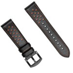 Black Rubber Silicone Leather Watch Band Strap