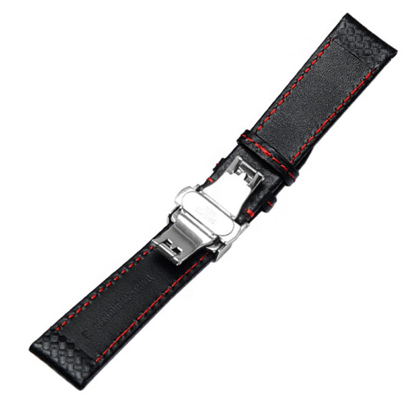DISMAY Carbon Fiber Leather Watch Band Strap Replacement with folding clasp buckle.