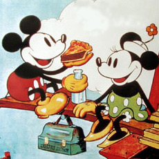 Mickey Mouse and Minnie Mouse having lunch together