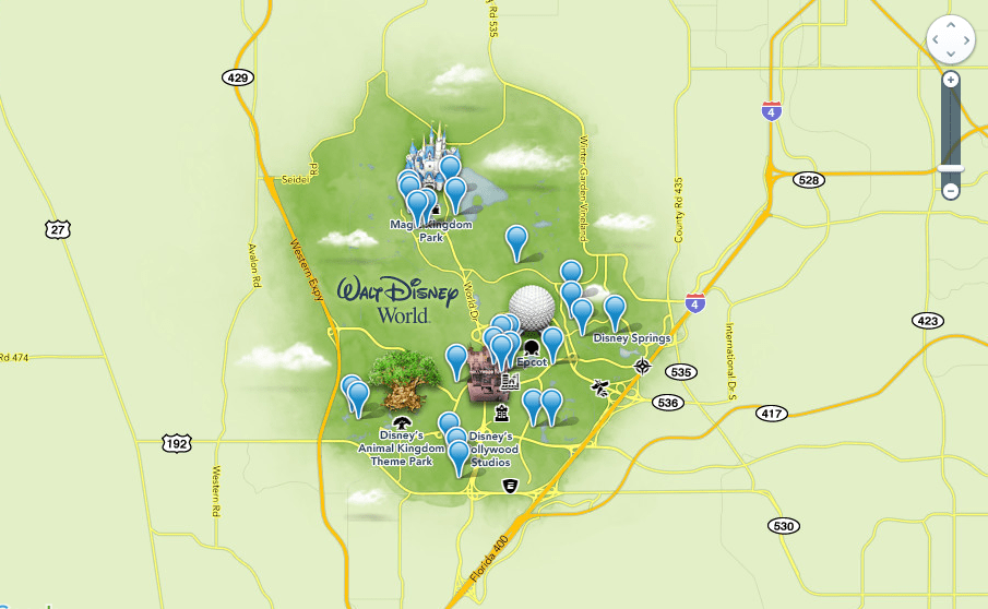 Where can I find a map of all of the resorts at Disney World?