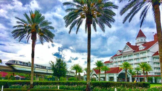 Grand Floridian at Walt Disney World with Monorail passing by