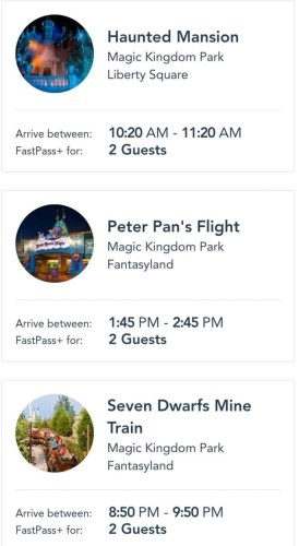 Magic Kingdom fastpass selections