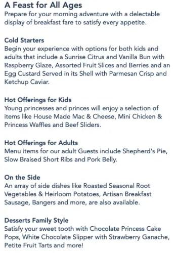 Disney Princess Breakfast Adventures in Napa Rose Menu