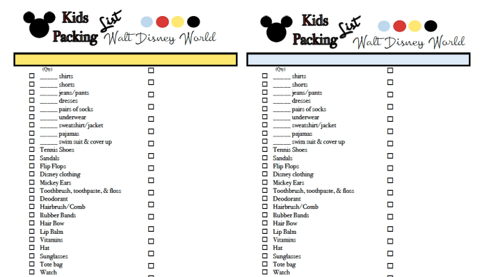 Kids WDW packing lists