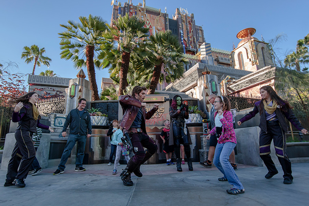 Star lord, Gamora, and Groot in Disney's California Adventure