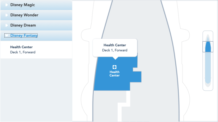 Location of Health Center on Disney Cruise