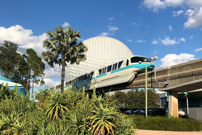 Epcot Spaceship Earth and Monorail