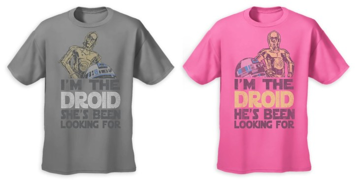 Limited release Star Wars droids Valentine's Day t-shirts