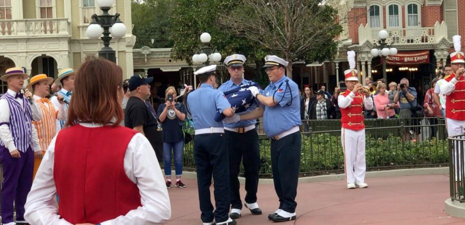 The Flag Retreat at Walt Disney World takes place at 5 p.m. daily. There is normally one guest, a veteran, who participates in the ceremony.
