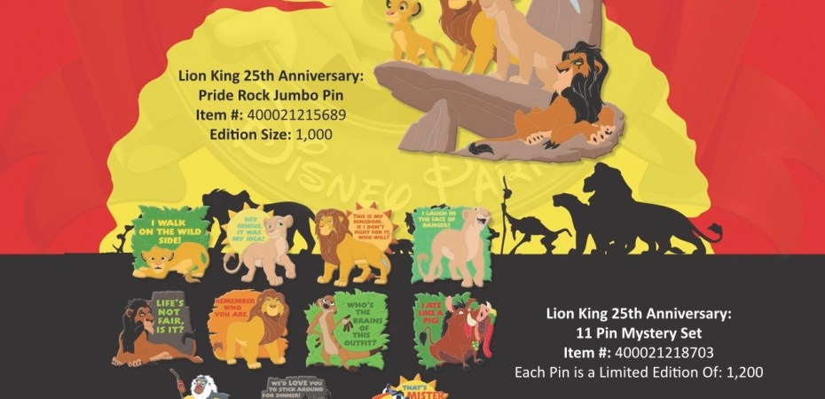 Special 25th Anniversary Lion King Pins To Be Released June 13