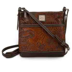 Brown Leather Sketch Crossbody