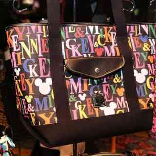 Mickey & Minnie Rainbow Names Black Tote