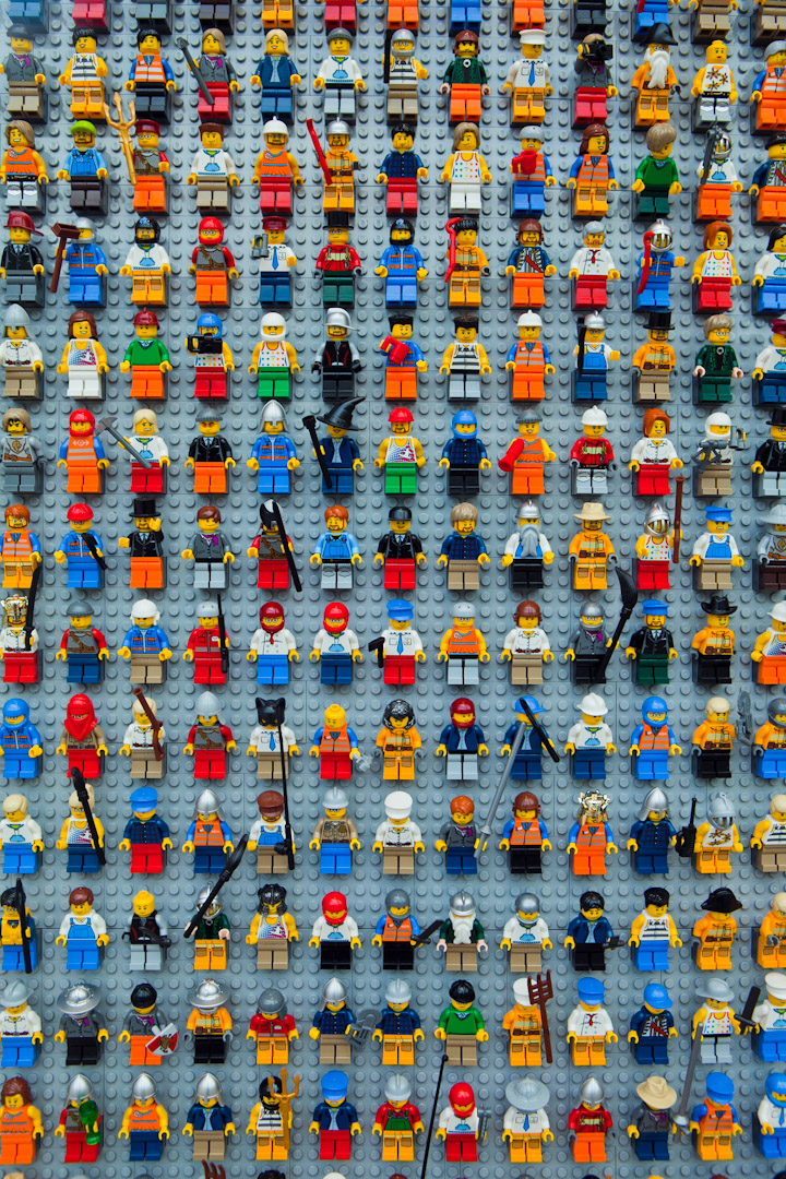 Wall Of Lego People Lego Store Downtown Disney