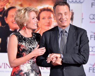 Disney Saving Mr Banks Premiere Afi Fest 2013 Hollywood Hand And Footprint Ceremony Emma Thompson Tom Hanks