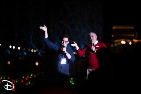 Disneyland Resort Holidays Press Event 2013 World Of Color Winter Dreams Premiere Steve Davison Josh Gad
