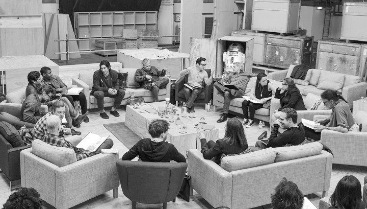 Disney Lucasfilm Star Wars Episode 7 Table Read Cast Photo Pinewood Studios London
