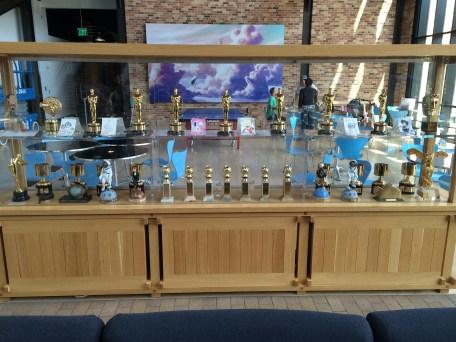 Disney Pixar Animation Studios Headquarters Disneyexaminer Tour Emeryville Oscars Golden Globe Awards Cabinet