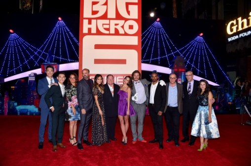The cast of Big Hero 6 at the movie's premiere.