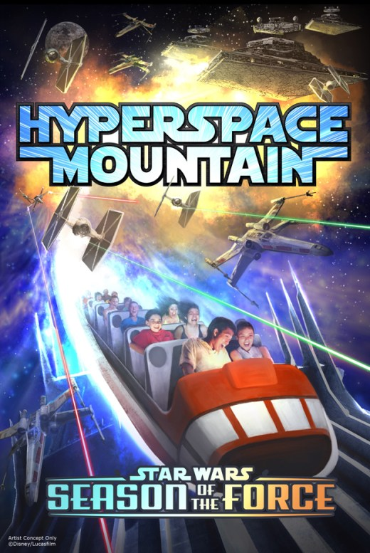 Season of the Force Coming to Disney Parks -- This new seasonal event, beginning early 2016, brings new experiences to both coasts. In Tomorrowland at Disneyland park, guests will explore the Star Wars galaxy with special entertainment throughout the land, themed food locations and more. Guests also will be thrilled to climb aboard Hyperspace Mountain, a reimagining of the classic Space Mountain attraction, in which guests will join an X-wing Starfighter battle. At DisneyÕs Hollywood Studios, guests will close out weekend nights with a new fireworks spectacular set to the iconic score of the Star Wars movies. (Disney Parks)