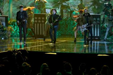 "The musical group ""Fall Out Boy"" sing a song from ""The Jungle Book"" for the ABC Television Special, ""The Wonderful World of Disney: Disneyland 60"" that will air February 21st at 8 p.m. (c) OC Register"
