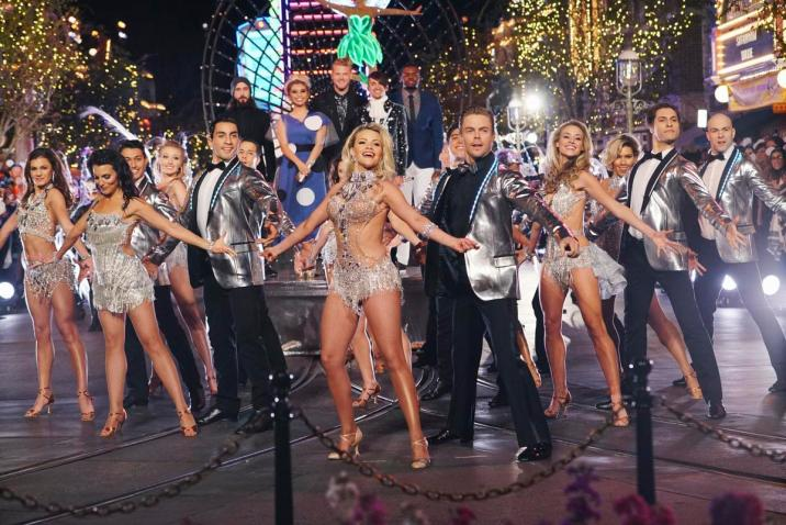 """Witney Carson, Derek Hough and Pentatonix dance and sing on Main Street U.S.A. at Disneyland for the ABC Television Special, """"The Wonderful World of Disney: Disneyland 60"""" that will air February 21st at 8 p.m. (c) OC Register"""