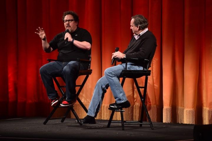 Jon Favreau (L) and Rob Legato (R) at the secret Jungle Book presentation