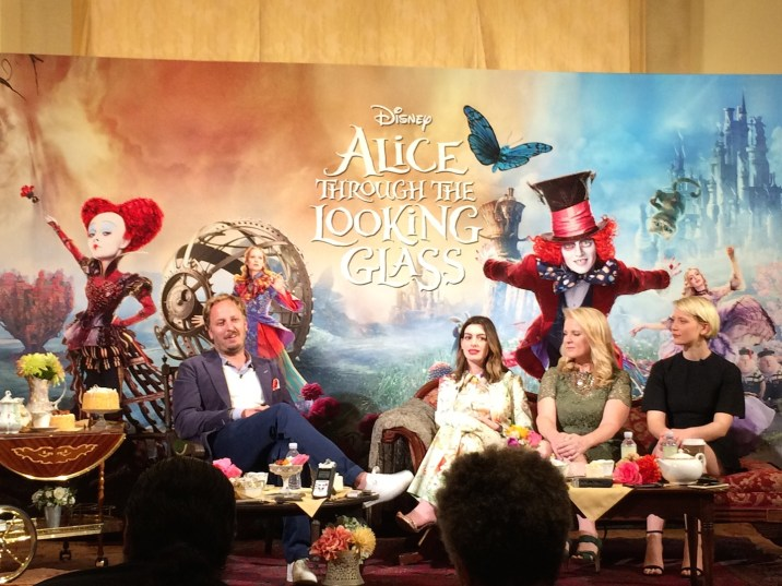 James Bobin (director), Anne Hathaway (Mirana/the White Queen), Suzanne Todd (producer), and Mia Wasikowska (Alice Kingsley)