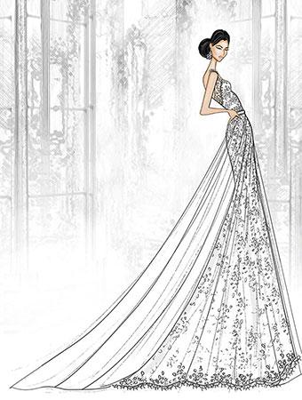 Jasmine Aladdin Sketch Concept Wedding Dress Alfred Angelo Spring ...