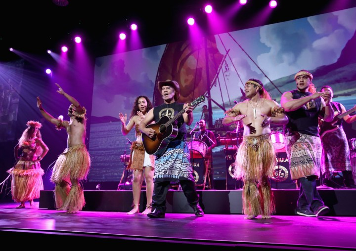 "ANAHEIM, CA - AUGUST 14: Singer/songwriter Opetaia Foa'i and music group Te Vaka of MOANA took part today in ""Pixar and Walt Disney Animation Studios: The Upcoming Films"" presentation at Disney's D23 EXPO 2015 in Anaheim, Calif. (Photo by Jesse Grant/Getty Images for Disney) *** Local Caption *** Opetaia Foa'i"