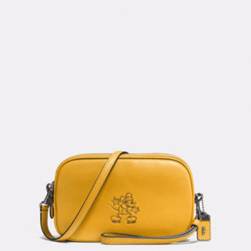 Coach Mickey Mouse Crossbody Clutch Mustard Yellow Gift Ideas Grown Ups