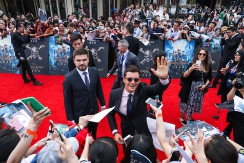 Pirates of the Caribbean Dead Men Tell No Tales World Premiere Shanghai Disney Resort Orlando Bloom Will Turner