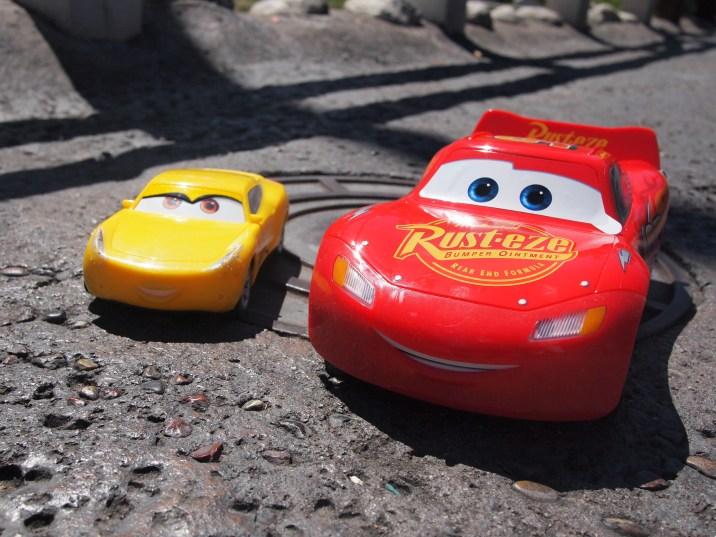 "Lightning and his mentor from ""Cars 3"" Cruz Ramirez"