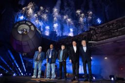 The luminaries at the dedication ceremony for the opening of Disneyland's Star Wars: Galaxy's Edge. Pictured are (l-r) George Lucas, creator of Star Wars, Billy Dee Williams, who played Lando Calrissian, Mark Hamill, who played Luke Skywalker, Bob Iger, Chairman and CEO of The Walt Disney Company, and Harrison Ford, who played Han Solo. Photo by Richard Harbaugh/Disneyland Resort