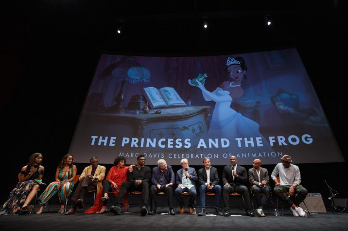 """The Academy presented """"The Princess and the Frog"""" as part of the Marc Davis Celebration of Animation, on Thursday, September 5, 2019. Pictured (left to right): Quvenzhané Wallis, Anika Noni Rose, Keith David, Jenifer Lewis, Michael-Leon Wooley, Randy Newman, Ron Clements, Peter Del Vecho, Rob Edwards, Marlon West and Bruce W. Smith."""