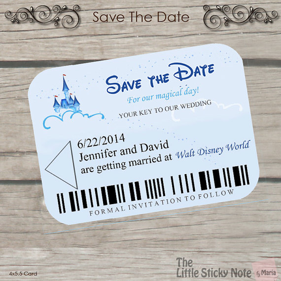 Well known Disney Wedding- Disney Themed Save The Dates TE04