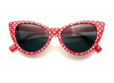 f2b6f706c224 The red with white polka dots are a fabulous tribute to Minnie Mouse. You  can't lose when you wear this pair of sunglasses with your latest ensemble.