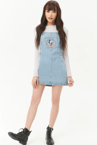 various styles discount shop official site Say Hello To Summer With The Striped Mickey Denim Dress