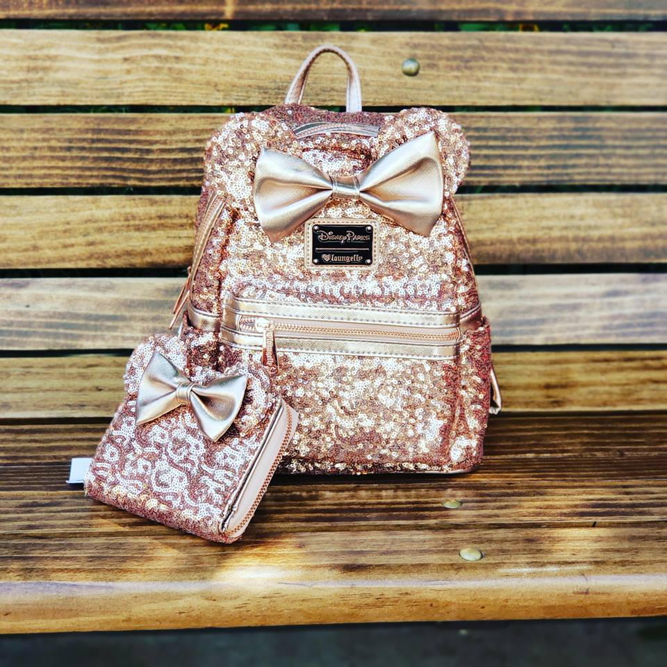 the sequin rose gold minnie backpack and matching wallet is amazing. Black Bedroom Furniture Sets. Home Design Ideas